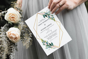 Invite only Geometric Wedding Invitation Template Instant Download Templett Printable Wedding Editable Greenery Gold - Tara