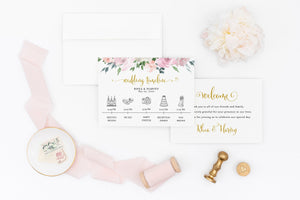 Printable Wedding Itinerary Template Card Timeline Welcome 100% editable Templett Floral Dusty Blue Blush - Rhea