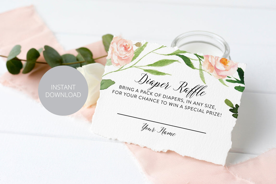Printable Diaper Raffle Ticket Diaper Raffle Card, Cards Raffle Tickets Blush Greenery Gender Neutral Instant download Baby Shower #WB2