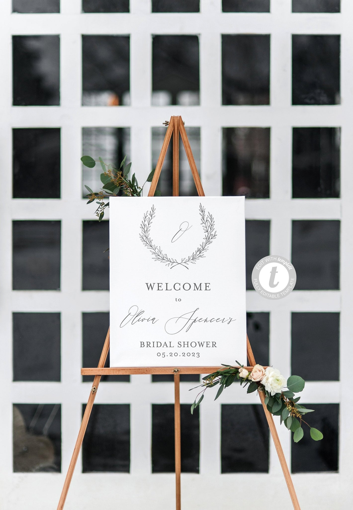 Monogram Wreath Bridal Shower Welcome Sign Printable Template Editable Instant Download Wedding Décor  -Olivia