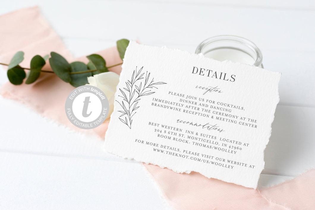 Wedding Details Card Template, Instant Download, Information Card, Wedding Info Card, Rustic Wedding,Details Template  - Olivia