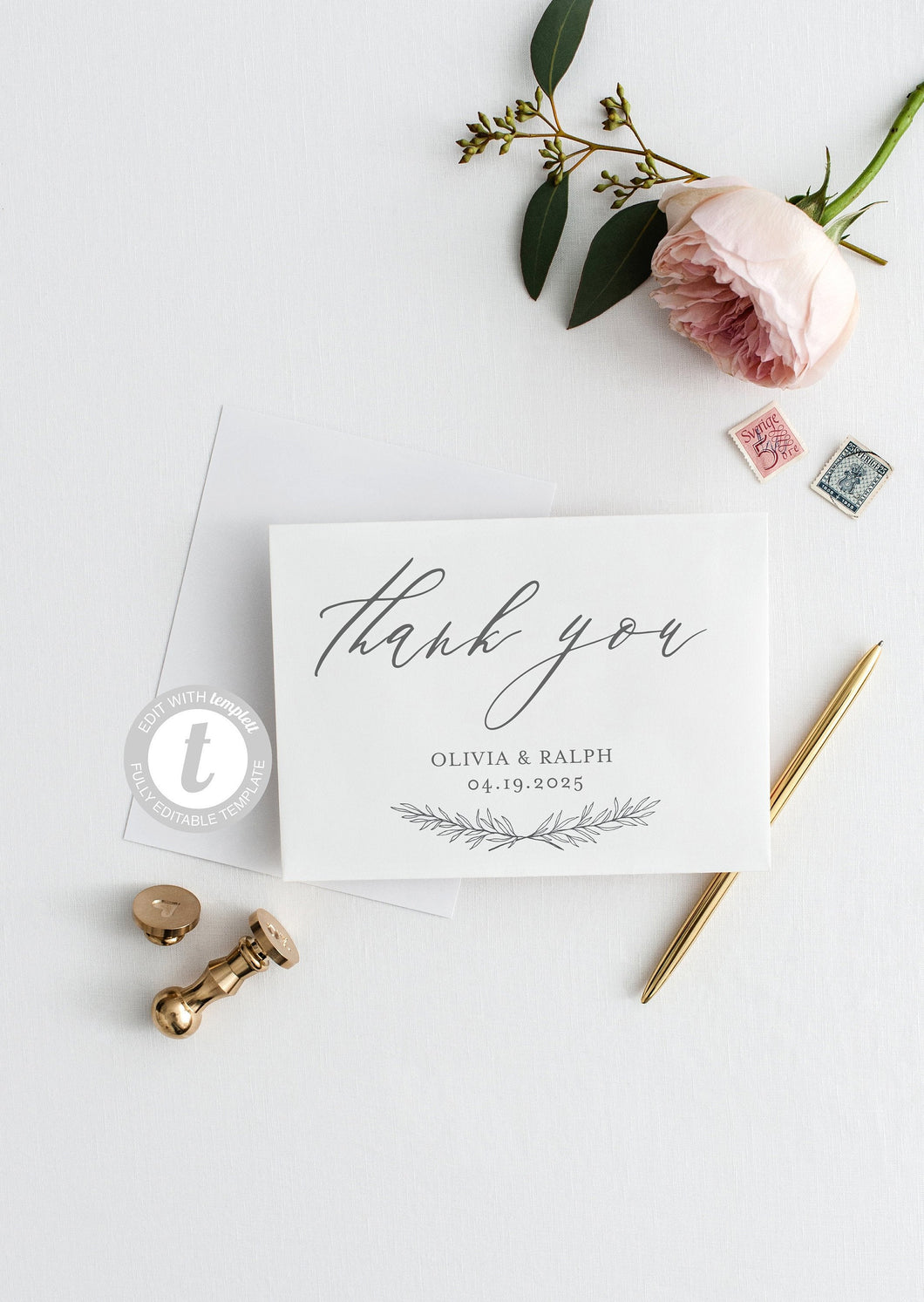 Elegant Wedding Thank You Card, Instant Download, Thank you Cards, Printable Thank You, Wedding Cards, Calligraphy, Rustic  - Olivia