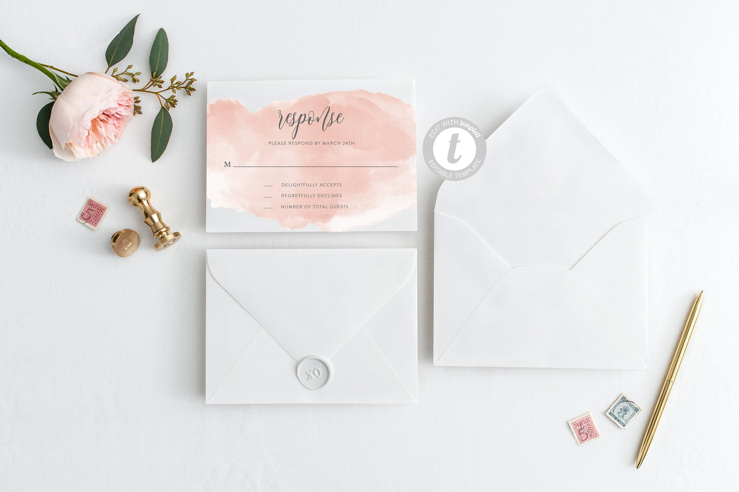 RSVP Card Template, Wedding RSVP, Response Card, RSVP cards, Watercolor Wedding, Printable rsvp, Wedding Response, Blush Pink - Bella