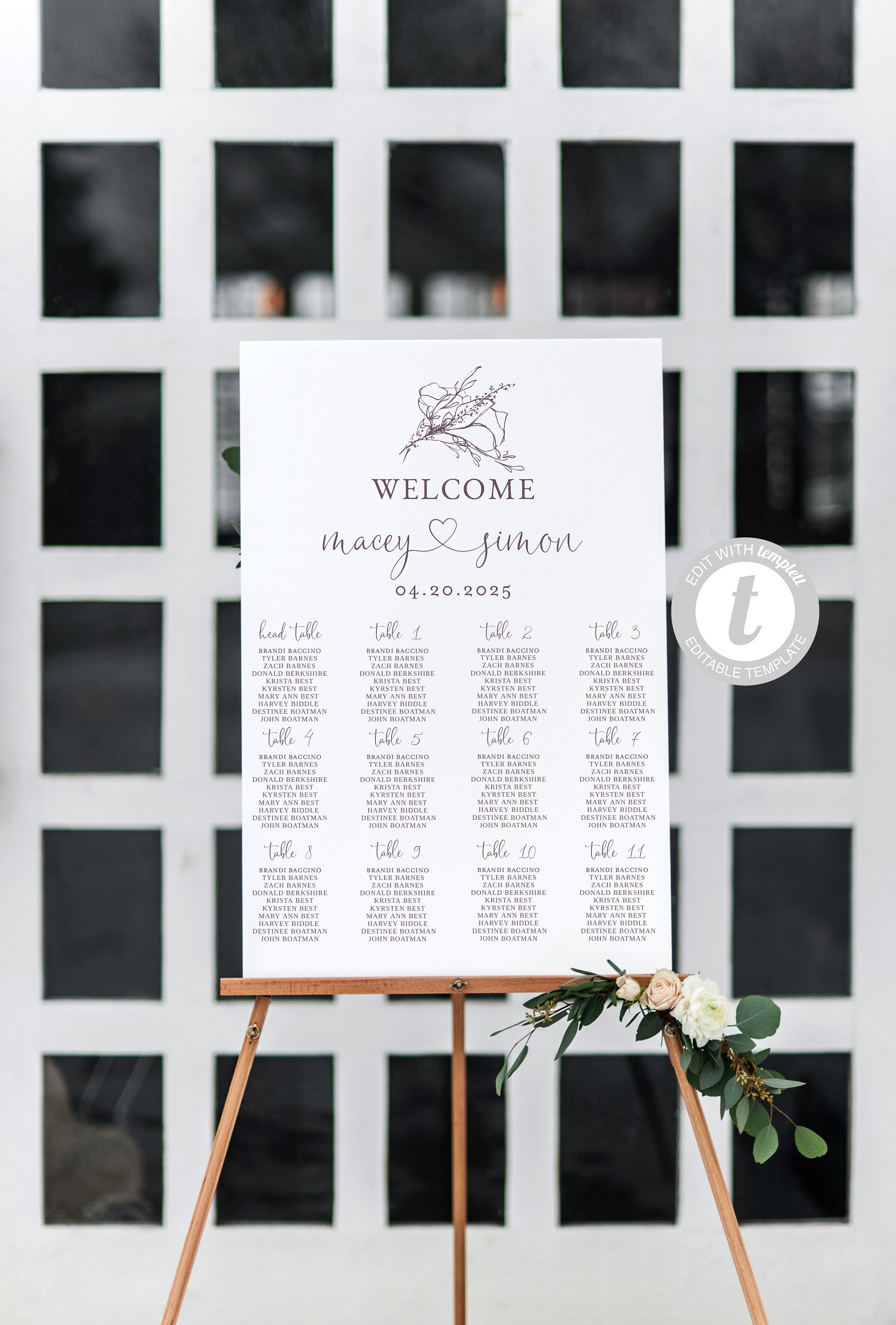 Wedding Seating Chart Template, Printable Floral Seating Sign, Editable Text INSTANT DOWNLOAD -Macey