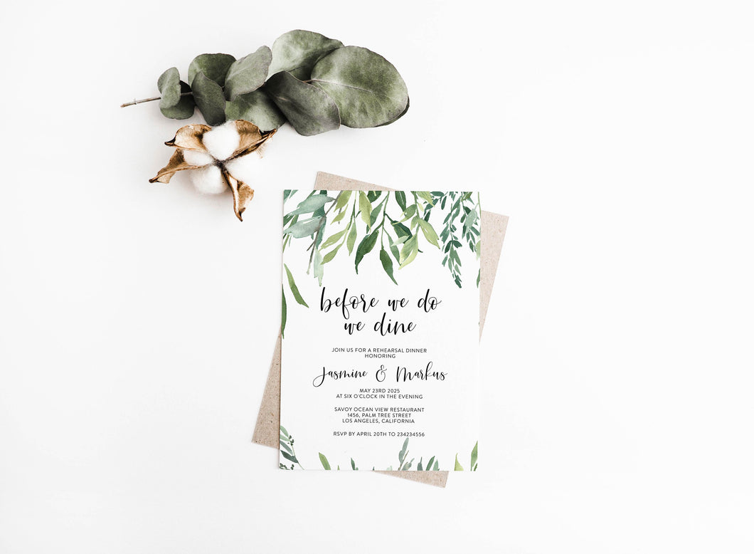 Rehearsal Dinner Invitation Template Printable Wedding Greenery Wedding Instant Download  - Jasmine