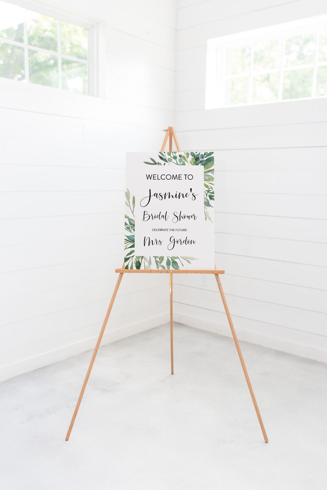 Printable Bridal Shower Welcome Sign Template Editable Instant Download Wedding Décor Greenery - Jasmine