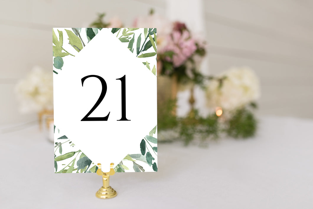 Greenery Table Numbers Printable Christmas Wedding Winter Instant Download DIY  - Jasmine