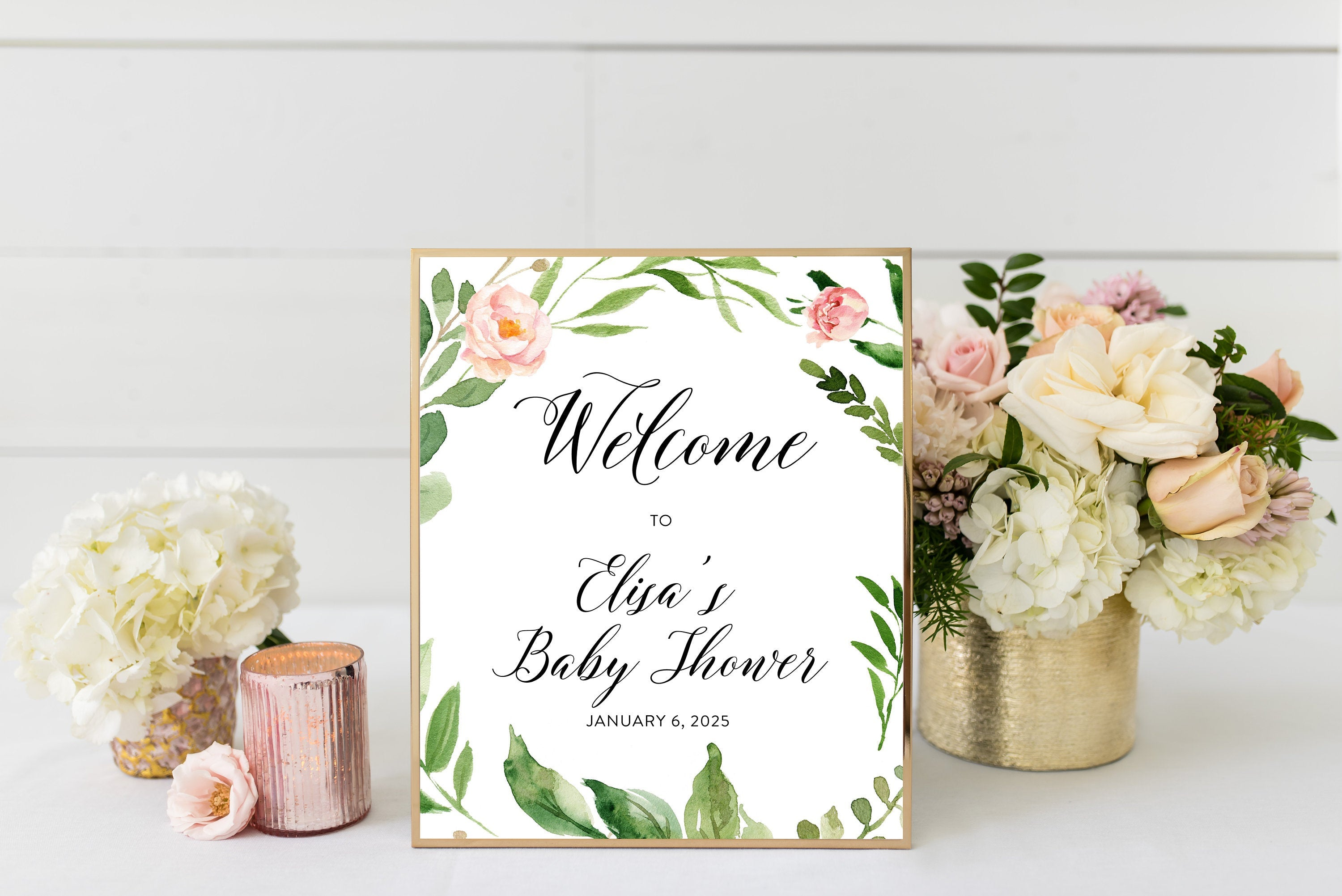 Blush Floral Welcome Baby Shower Sign Printable Template Peach Floral Baby Shower Welcome Sign Bridal Shower Decoration  #WB2