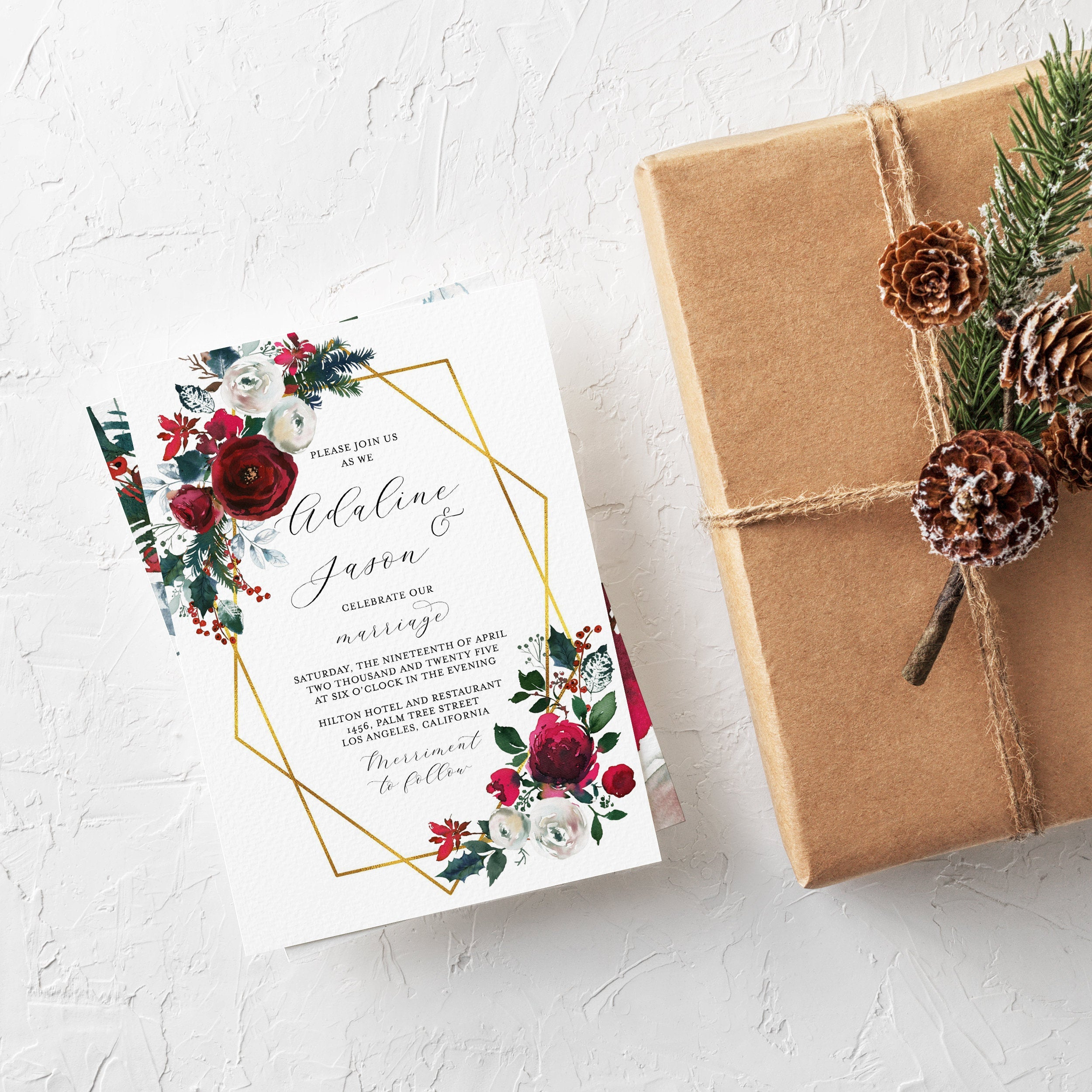 Burgundy Wedding Christmas Invitation Template Printable DIY Instant Download Editable Wedding Invites Geometric - Ada