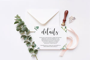 Greenery Wedding Details Card Template, Instant Download  Information Card Wedding Info Card Wedding - Jasmine