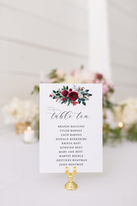 Wedding Seating Chart Template, Christmas Wedding Printable Floral Seating Sign, Seating Cards, Editable Text INSTANT DOWNLOAD - Ada