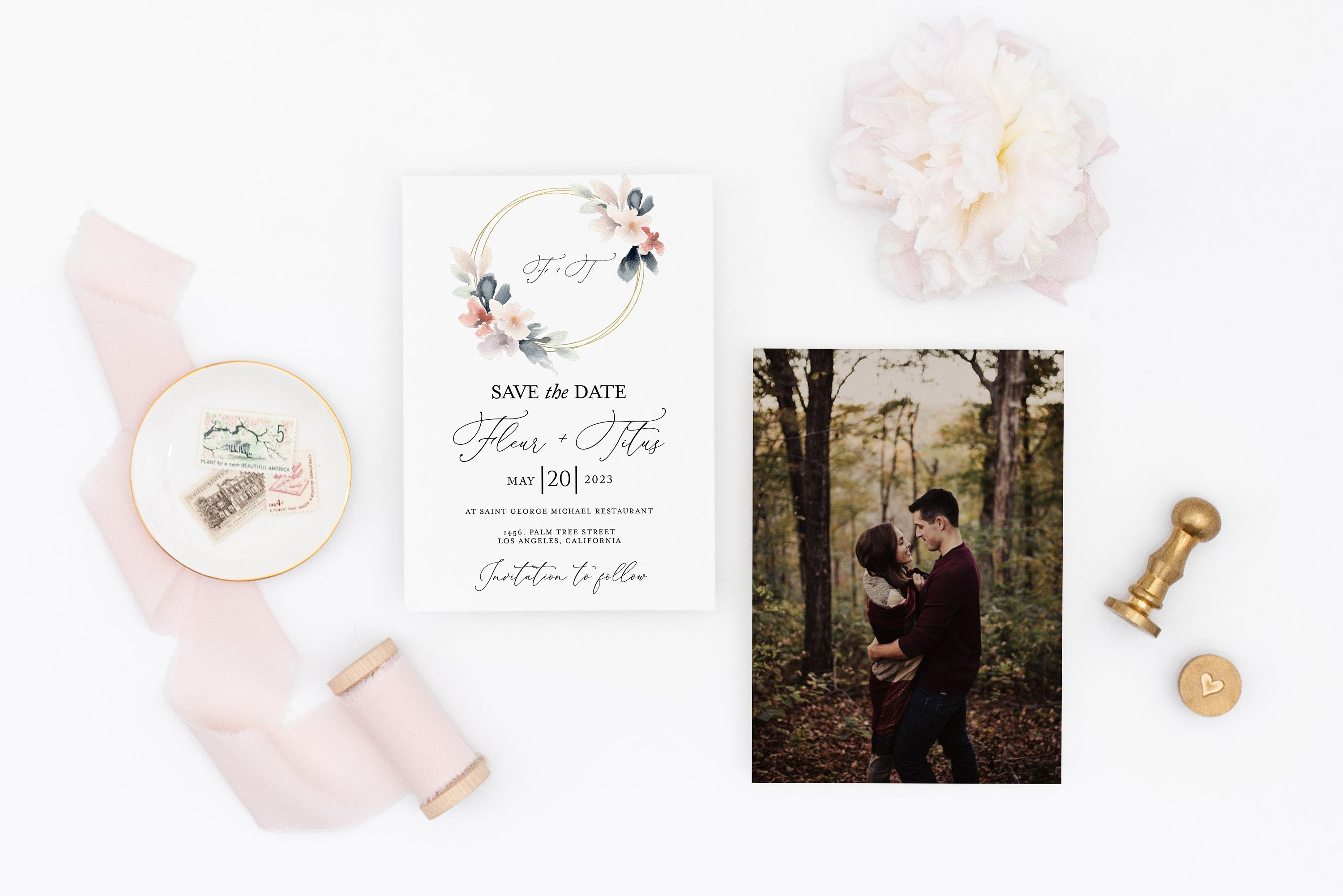 Printable Blush Wedding Save-the-Date Template with photo Engagement Invite 100% editable  - Fleur