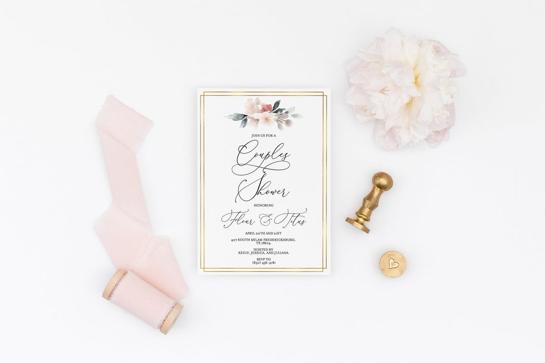 Couples Shower Invite Template Templett Shower Printable Invitation Instant Download Bridal Shower- Fleur