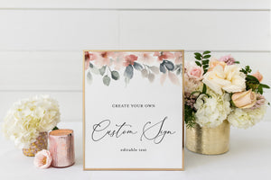 Printable Unlimited Custom Sign Floral Editable Template Instant Download 5x7 and 8x10 - Fleur