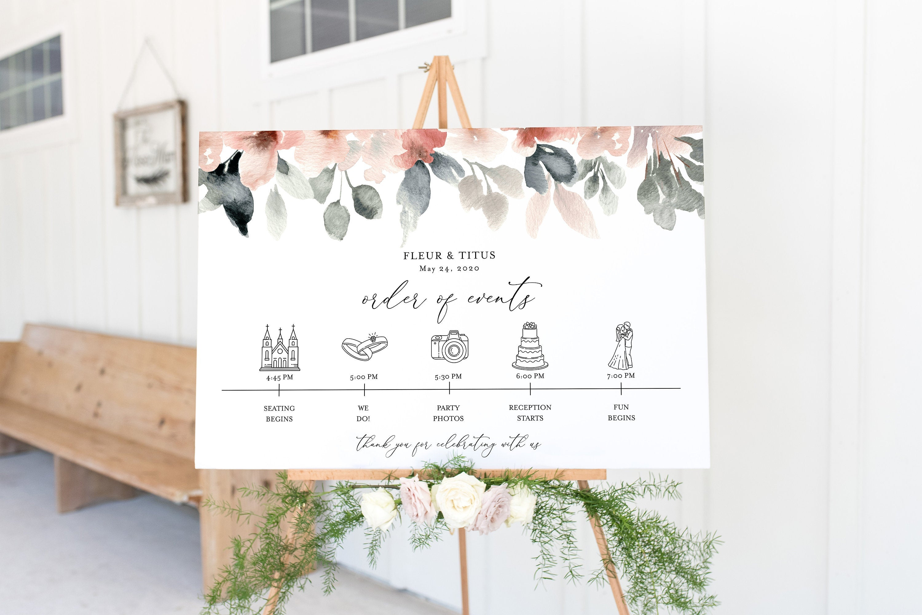 Order of Events Sign Template Blush Wedding Itinerary Sign Timeline Sign Printable  - Fleur