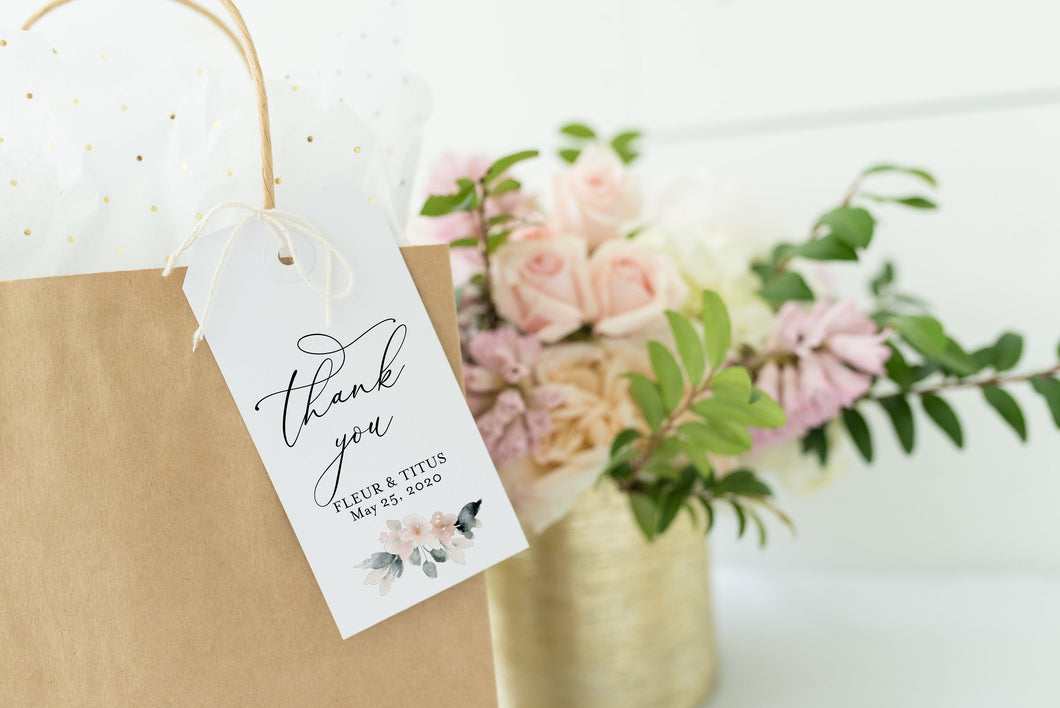 Printable Thank You Tags Template Wedding Bridal Shower Instant Download, 100% Editable- Fleur