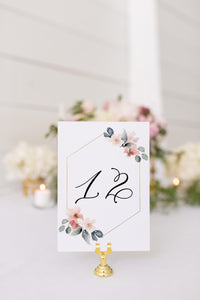 Blush Table Numbers Printable Christmas Wedding Winter Instant Download DIY Geometric  -Fleur