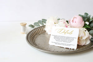 Gold Wedding Details Card Template, Instant Download  Information Card Wedding Info Card Wedding - Grace