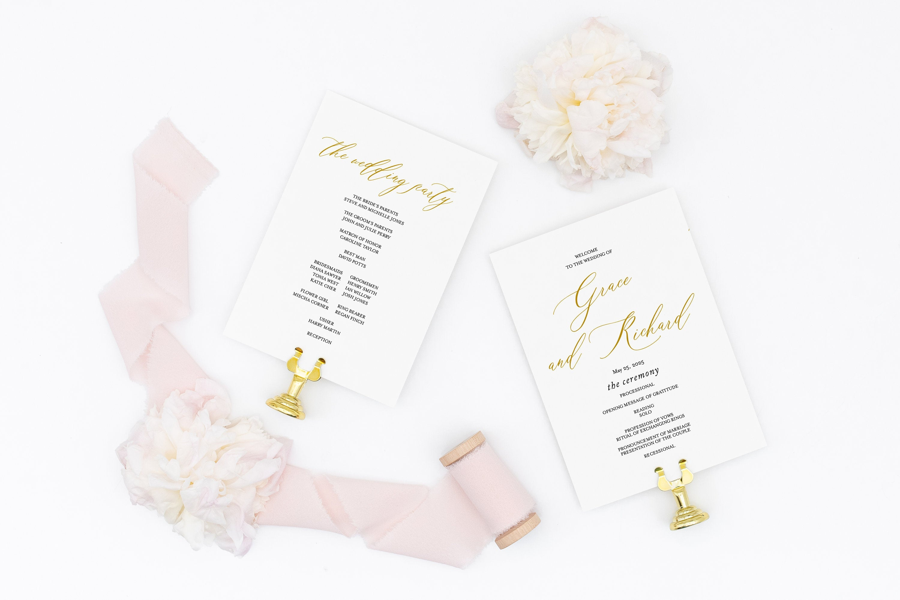 Wedding Program Fan Template Printable Ceremony Programs Editable Template Instant download - Grace