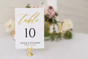 Gold Wedding Table Number, Calligraphy Printable Numbers Printable Instant Download Templett Table Number Cards  -Grace