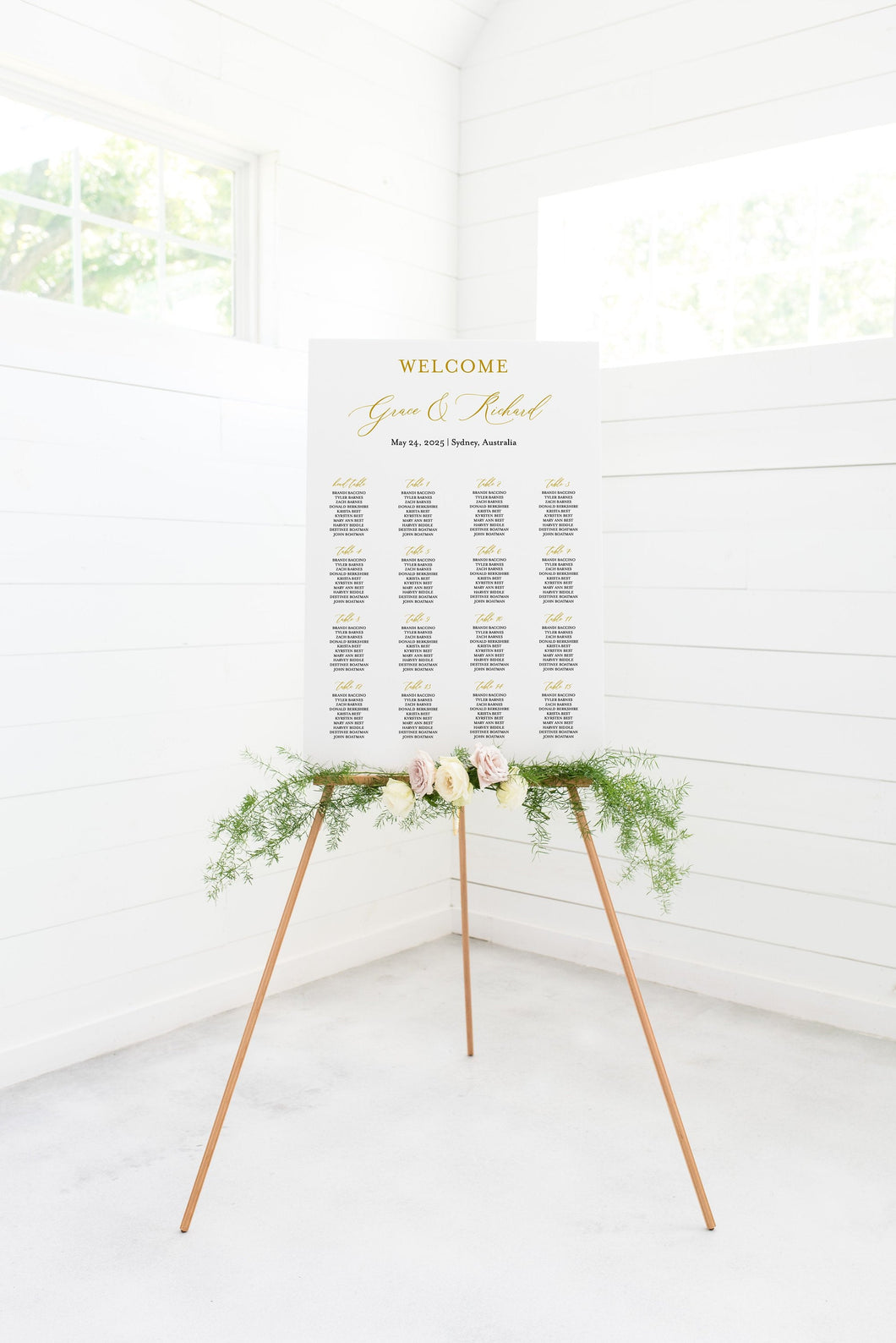 Wedding Seating Chart Template, Printable Seating Sign, Editable Text INSTANT DOWNLOAD - Grace