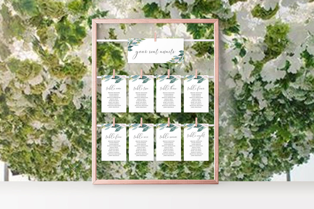 Wedding Seating Chart Template Printable Floral Seating Sign Seating Cards Editable Text INSTANT DOWNLOAD - Tara