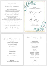 Load image into Gallery viewer, Folded Wedding Ceremony Card, Greenery, Geometric, Wedding Details Card, Gold Wedding, Rustic Wedding, Template, Nature Wedding - Abi