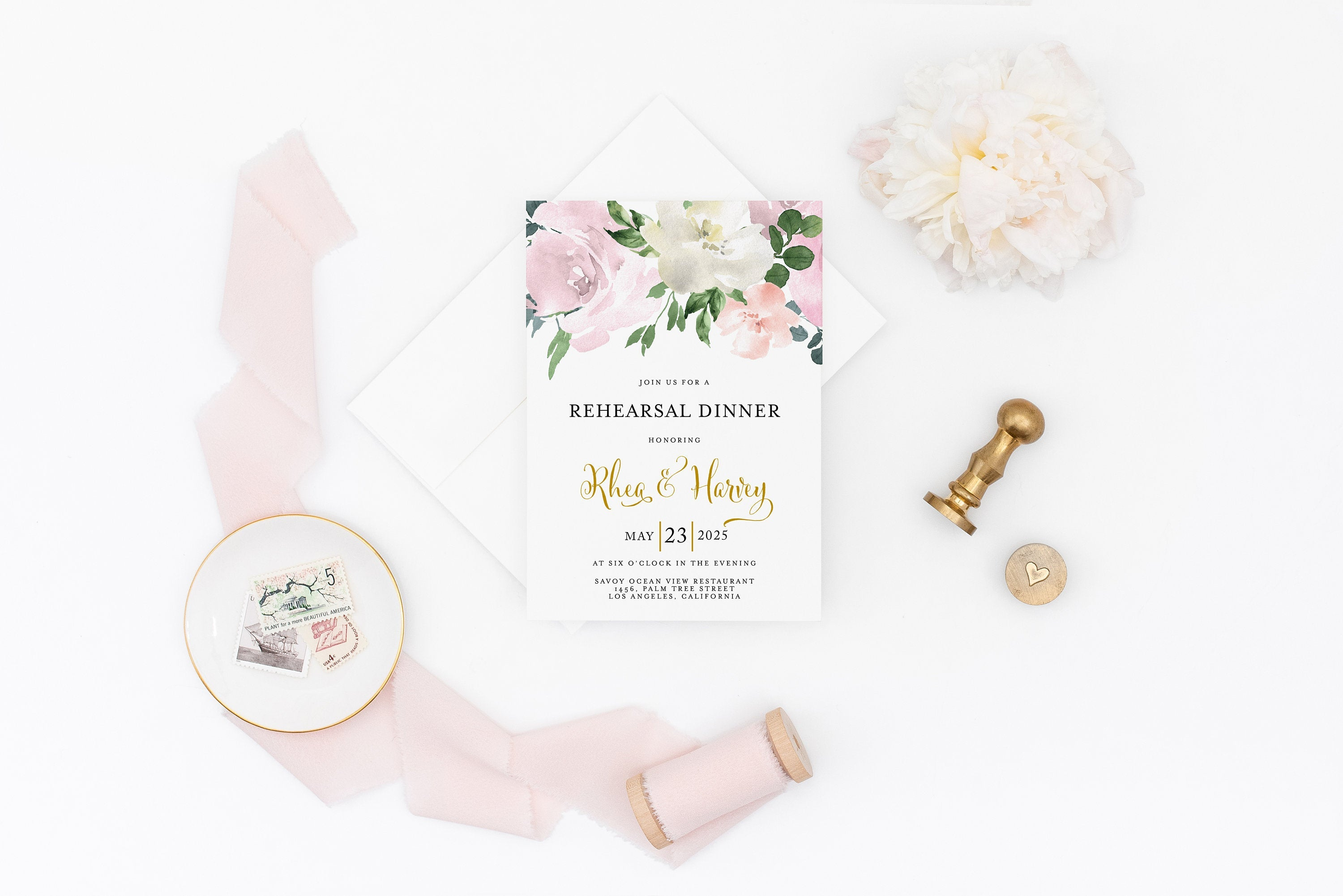 Rehearsal Dinner Invitation Template Printable Wedding Dusty Blue Blush Wedding Instant Download  - Rhea