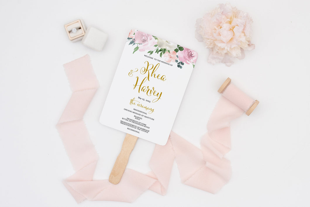 Wedding Program Fan Template Printable Ceremony Programs Editable Template Instant download Dusty Blue Blush Greenery - Rhea