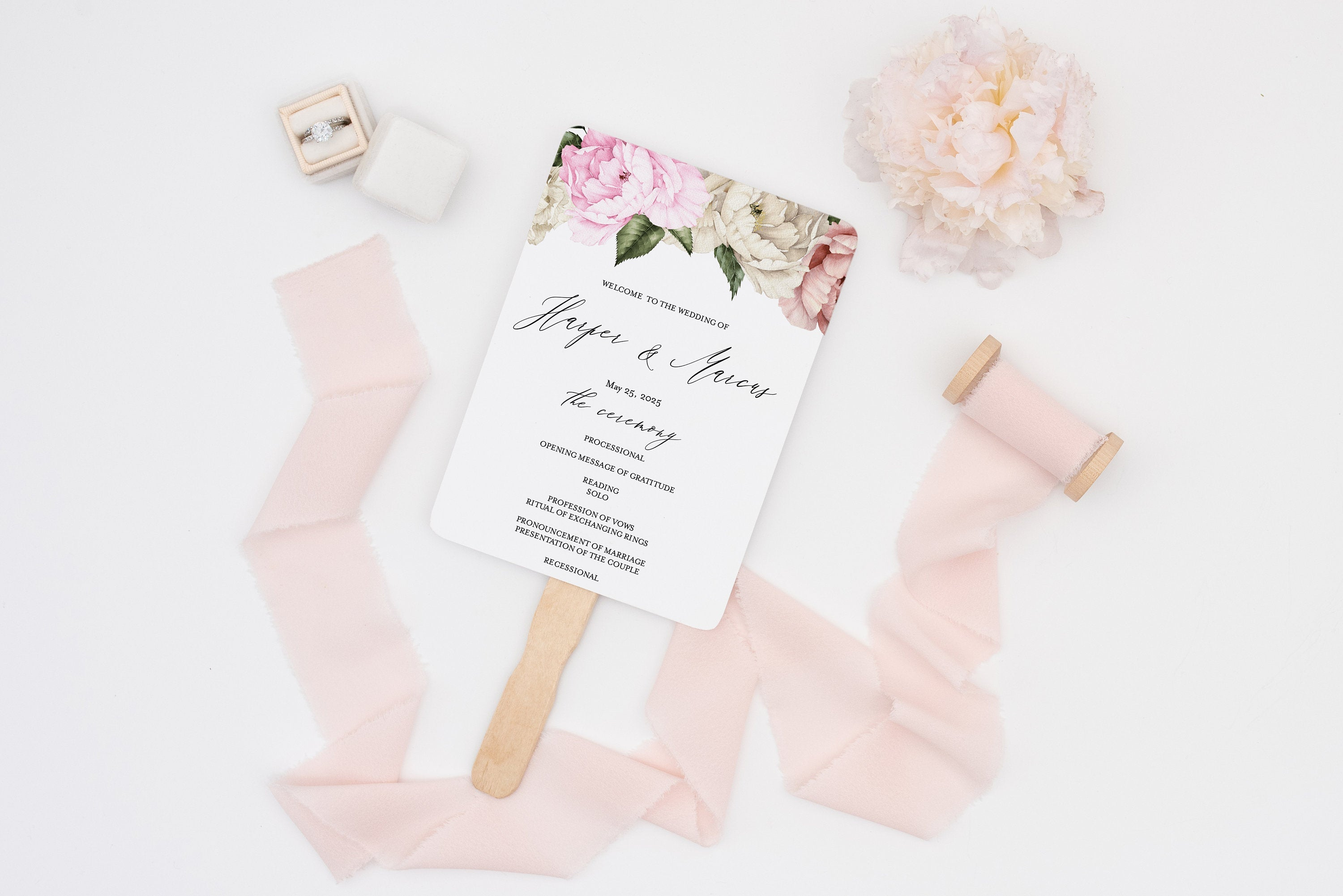 Floral Wedding Program Fan Template Printable Ceremony Programs Floral Editable Template Instant download - Harper