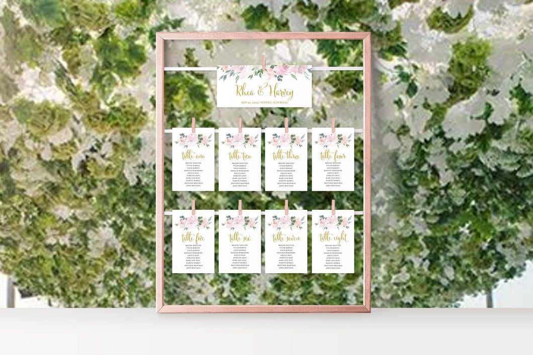 Wedding Seating Chart Template Printable Floral Seating Sign Seating Cards Editable Text INSTANT DOWNLOAD Blush Dusty Blue - Rhea