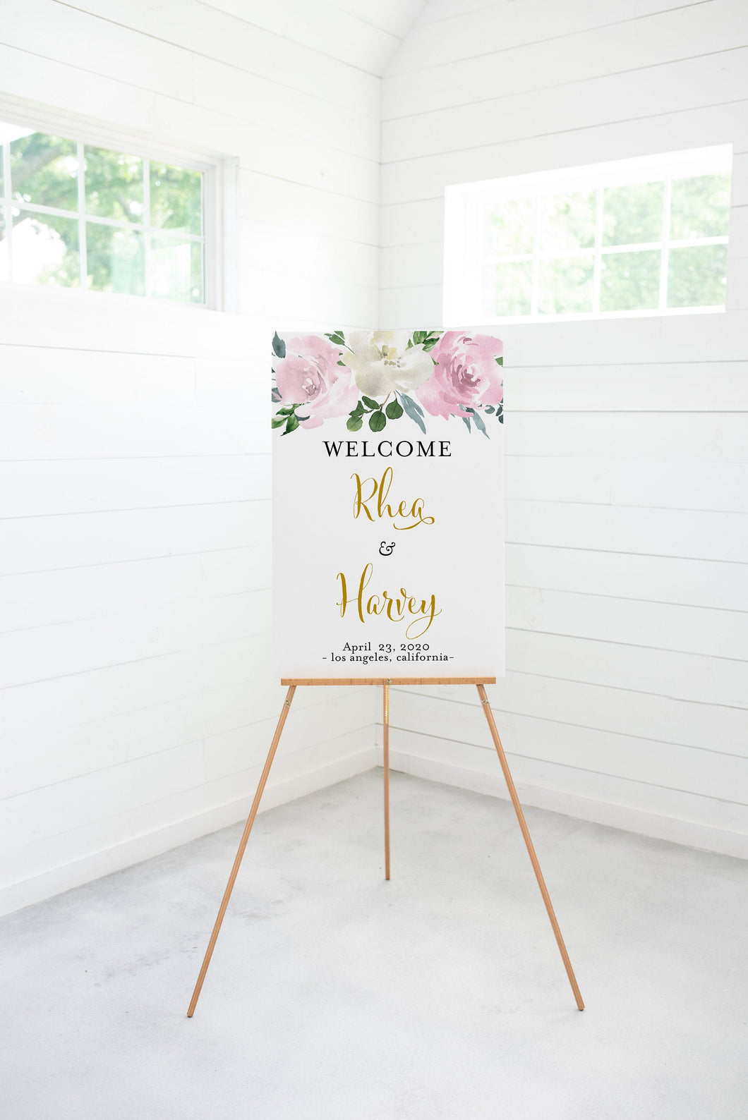 Blush Wedding Printable Welcome Sign Editable Template Instant Download Dusty Blue - Rhea