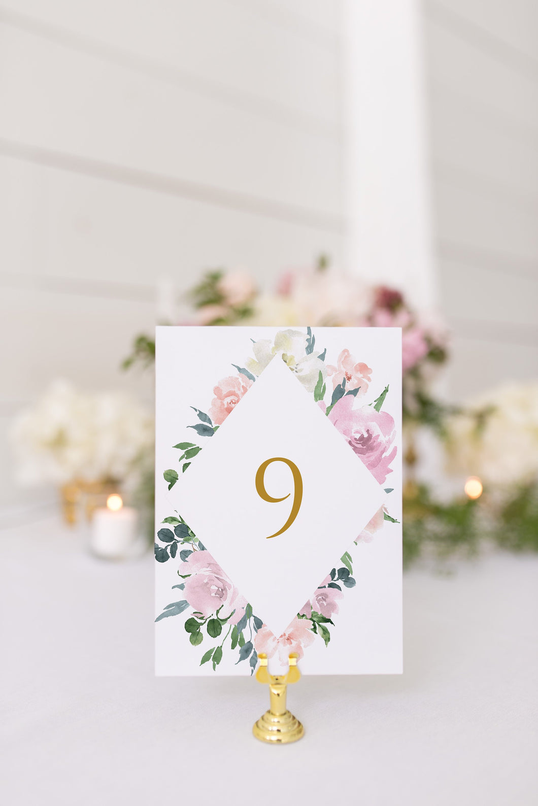Blush Table Numbers Printable Christmas Wedding Winter Instant Download DIY Geometric  - Rhea