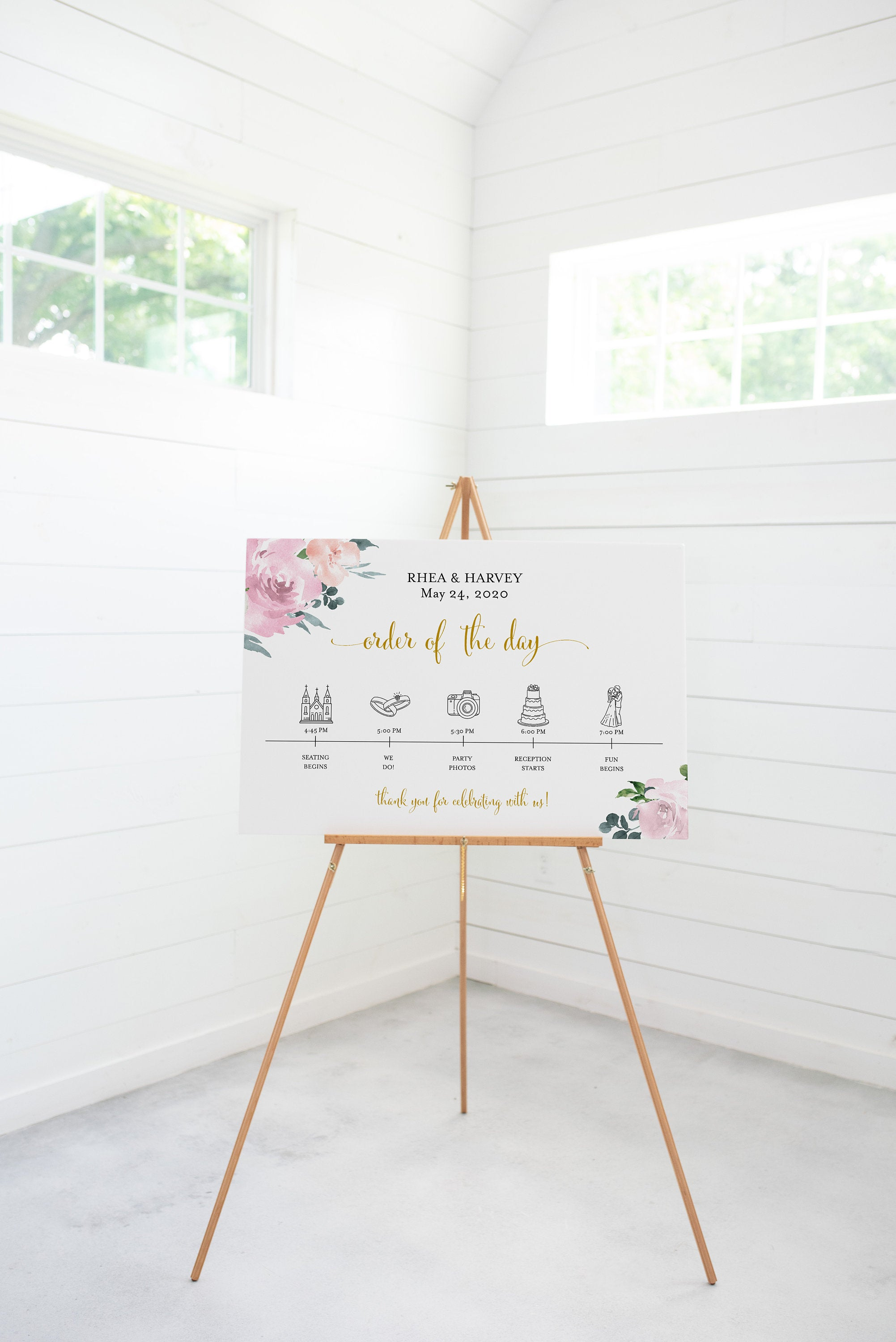 Order of Events Sign Template Greenery Wedding Itinerary Sign Timeline Sign Printable Blush Floral Dusty Blue  - Rhea