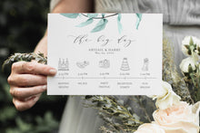 Load image into Gallery viewer, Printable Wedding Itinerary Template Card Timeline Welcome 100% editable Templett Greenery Dusty Blue - Abi