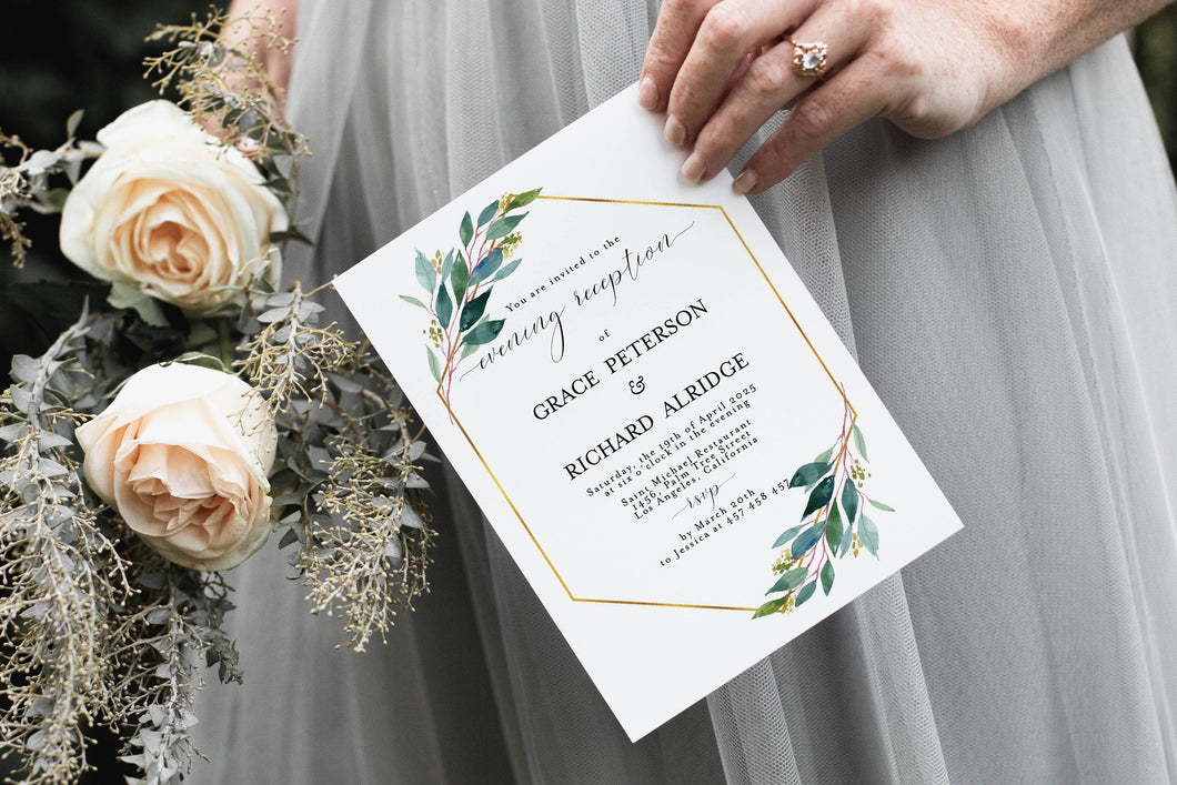 Geometric Wedding Evening Reception Invitation Template Instant Download Templett Printable Editable Greenery Gold - Tara