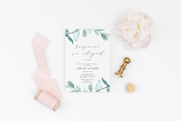 Elopement Wedding Invitation Template, Editable Printable Greenery Wedding Announcement We Tied the Knot Invite 100% editable  - Abi