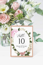 Load image into Gallery viewer, Floral Wedding Table Number Printable Numbers Printable Instant Download Templett Table Number Cards  -Harper