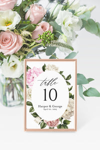Floral Wedding Table Number Printable Numbers Printable Instant Download Templett Table Number Cards  -Harper