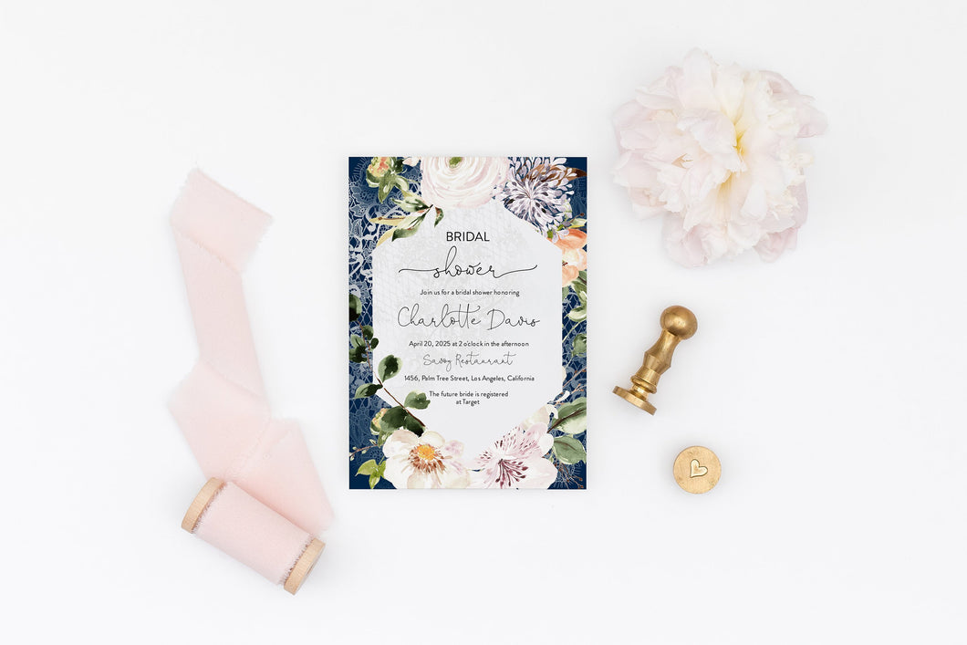 Change Background Color Bridal Shower Invitation Instant Download Printable Editable Template DIY Invite Floral - Charlotte