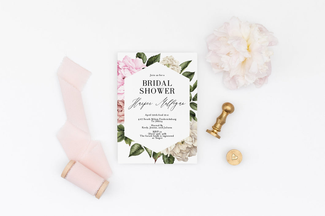 Floral Bridal Shower Invite Templett Invitation Template Printable Instant Download - Harper