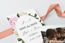 Load image into Gallery viewer, Printable Floral Wedding Save-the-Date Template with photo Engagement Invite 100% editable   - Harper