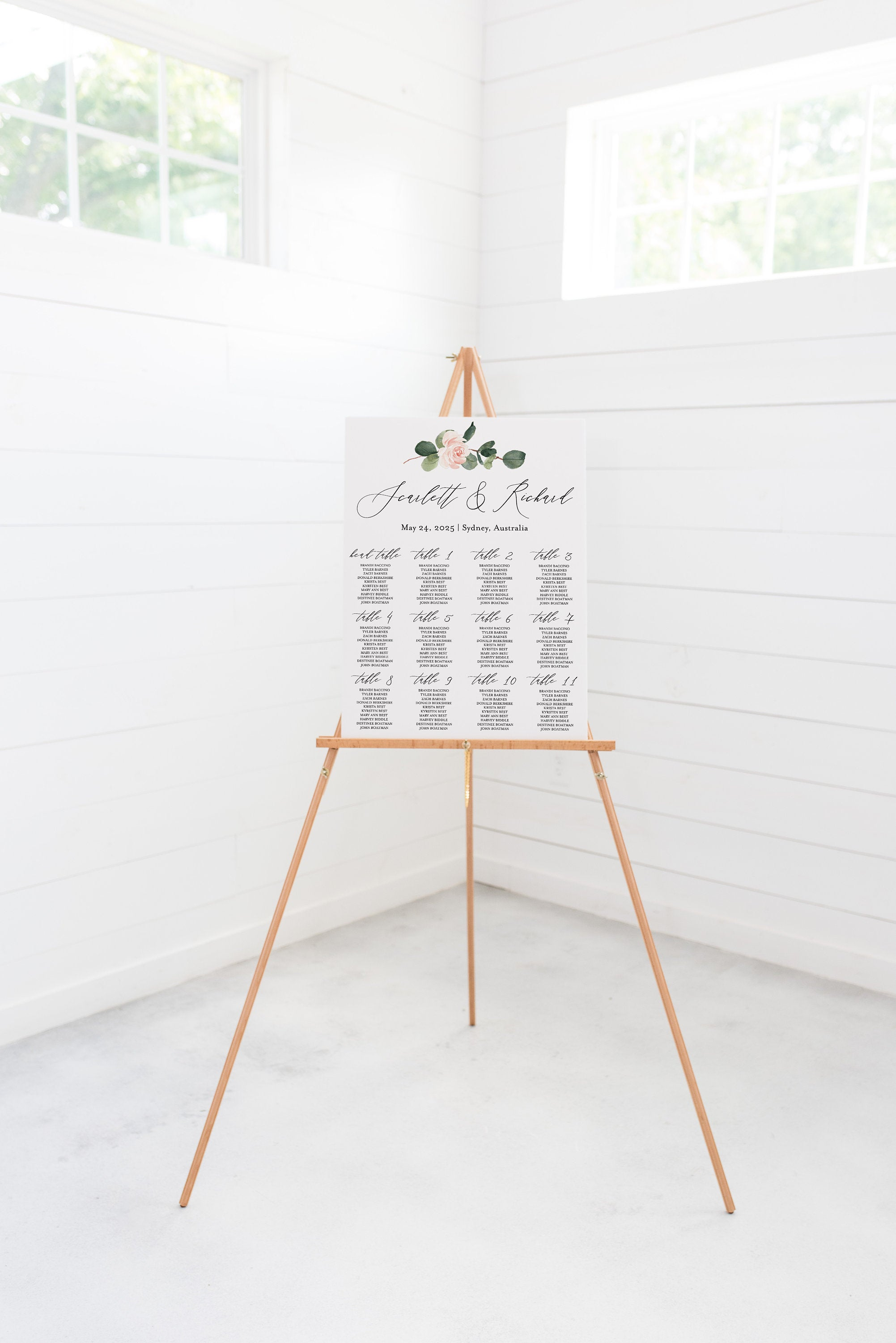 Floral Wedding Seating Chart Template Printable Seating Sign Editable Text INSTANT DOWNLOAD - Scarlett
