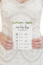 Load image into Gallery viewer, Printable Wedding Itinerary Template Card Timeline Greenery Welcome 100% editable Templett - Melissa