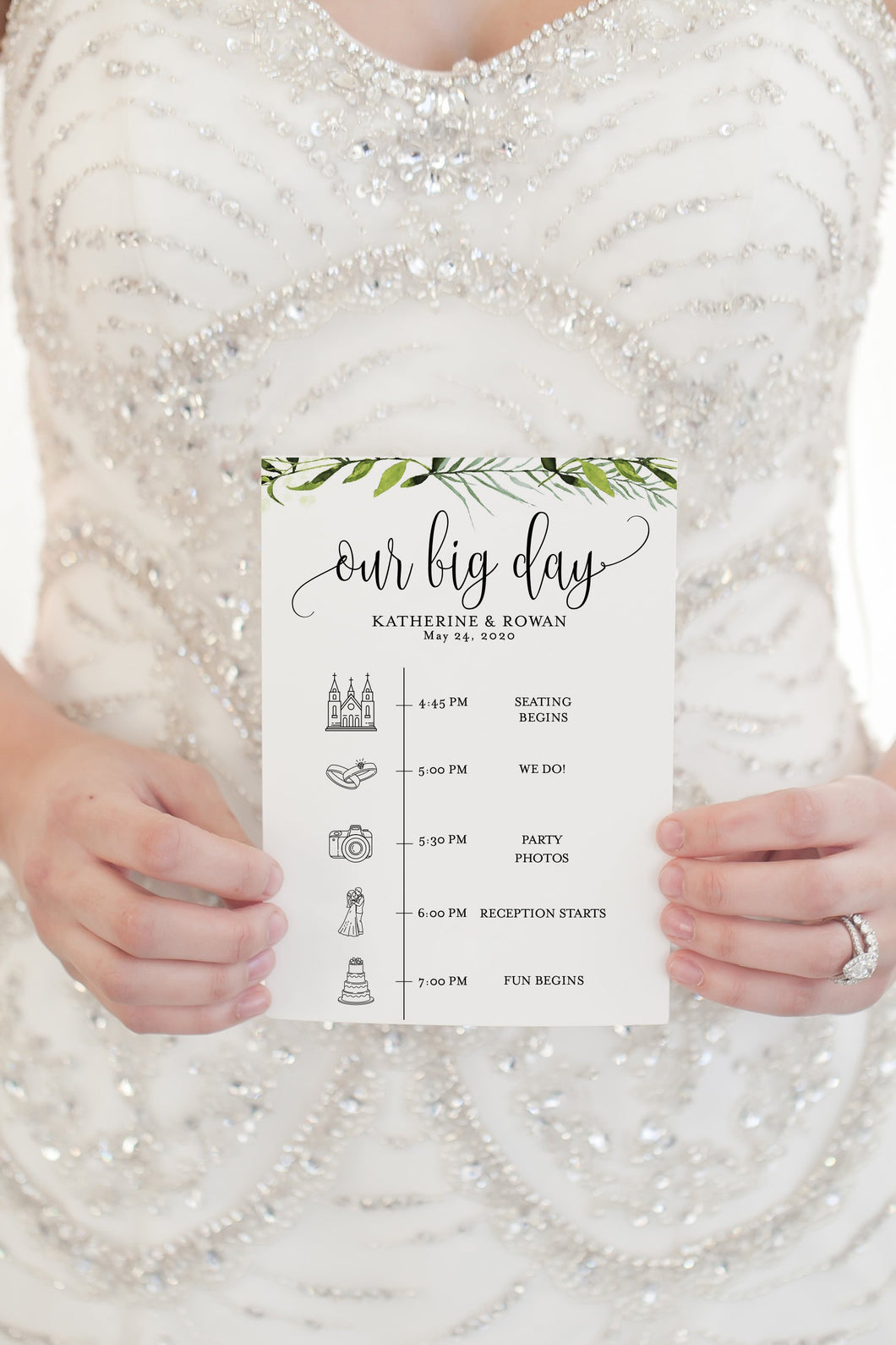 Printable Wedding Itinerary Template Card Timeline Greenery Welcome 100% editable Templett - Melissa