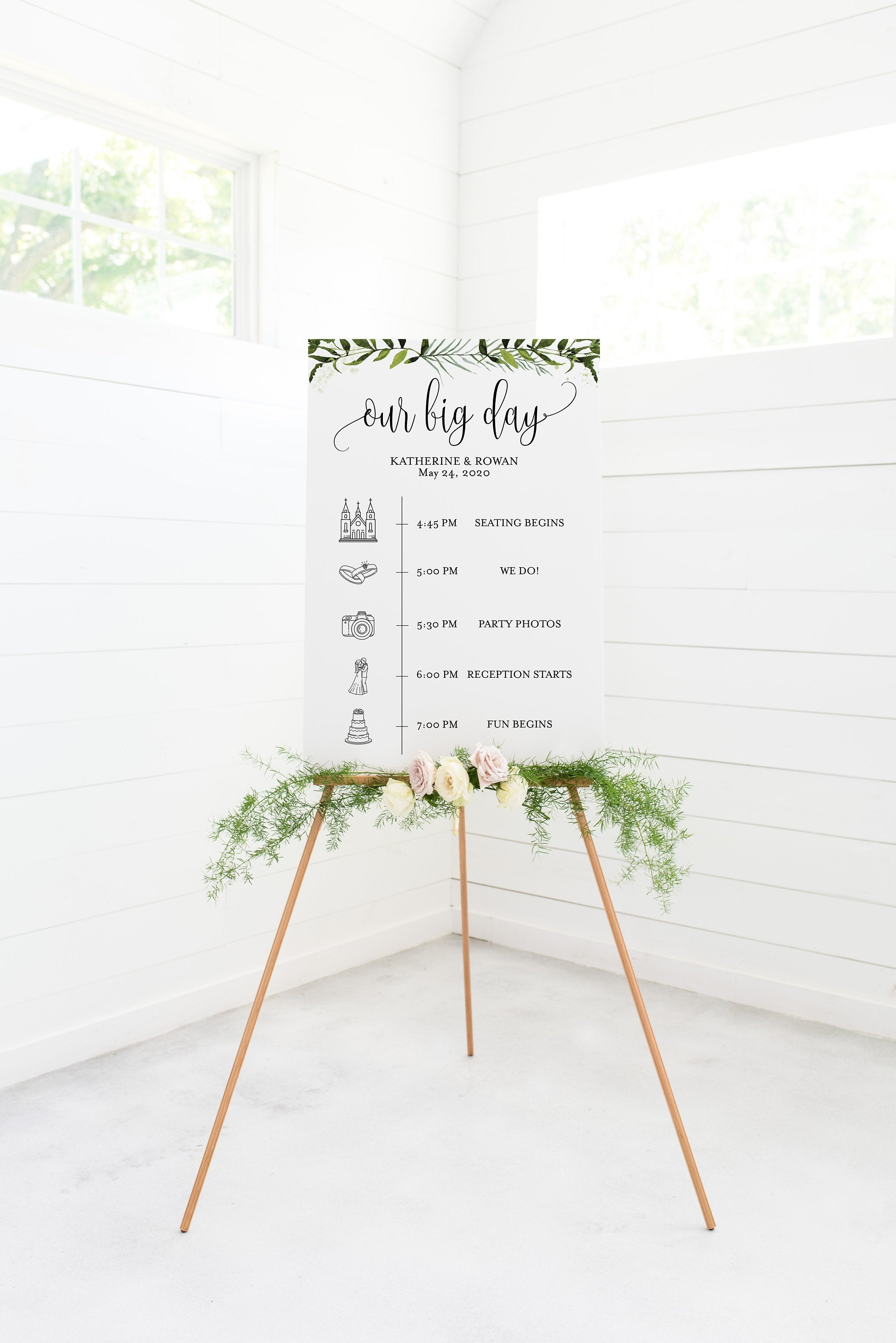 Order of Events Sign Template Wedding Itinerary Sign Timeline Sign Printable Greenery  - Melissa