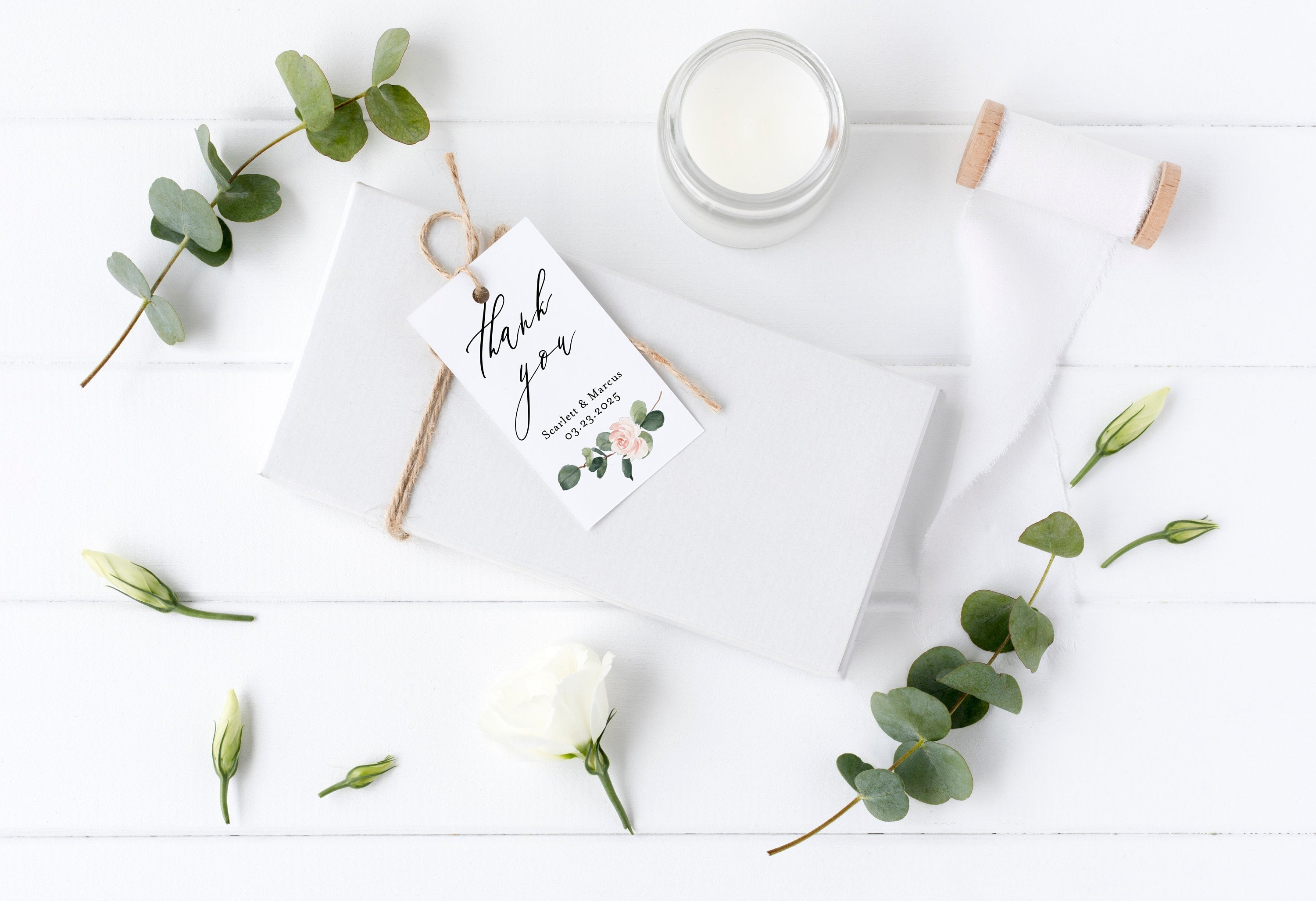 Printable Floral Thank You Tags Template Wedding Bridal Shower Instant Download 100% Editable Greenery - Scarlett