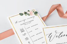 Load image into Gallery viewer, Printable Floral Wedding Itinerary Template Card Timeline Welcome 100% editable Templett Greenery - Scarlett