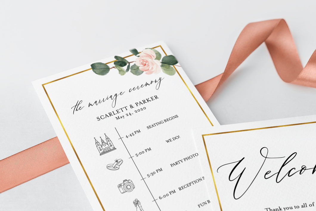 Printable Floral Wedding Itinerary Template Card Timeline Welcome 100% editable Templett Greenery - Scarlett