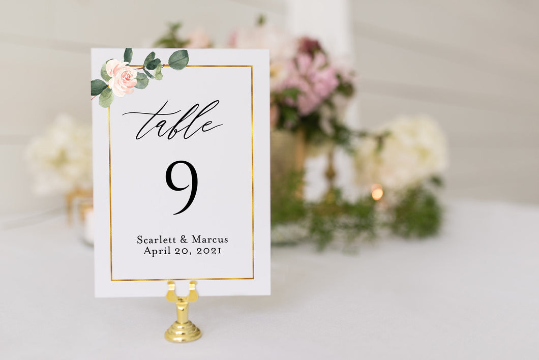 Floral Wedding Table Number Printable Numbers Printable Instant Download Templett Table Number Cards Greenery  - Scarlett